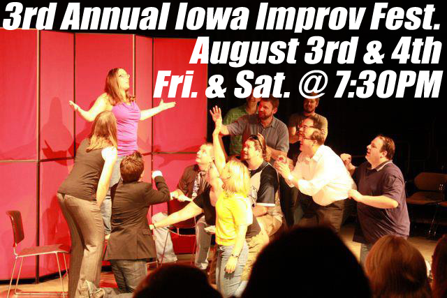 Comedy XPeriment, Des Moines' favorite improv group, again hosts the annual Iowa Improv Festival (IIF). In its third year, the IIF features four regional improvisation troupes (Comics In Action, Comedy […]