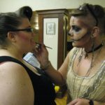 Libby and Noelle getting their makeup on.